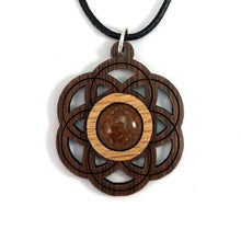 Load image into Gallery viewer, Chrysanthemum Seed of Life (Small) Sustainable Wooden Gemstone Pendant - Available in 4 wood types