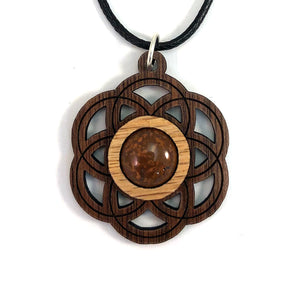 Chrysanthemum Seed of Life (Small) Sustainable Wooden Gemstone Pendant - Available in 4 wood types