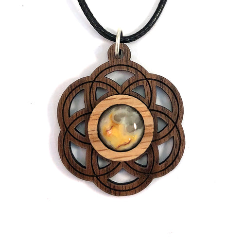 Crazy Lace Agate Seed of Life (Small) Sustainable Wooden Gemstone Pendant - Available in 4 wood types