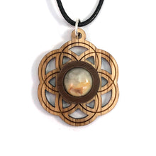 Load image into Gallery viewer, Crazy Lace Agate Seed of Life (Small) Sustainable Wooden Gemstone Pendant - Available in 4 wood types