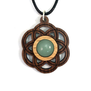 Green Aventurine Seed of Life (Small) Sustainable Wooden Gemstone Pendant - Available in 4 wood types