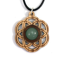 Load image into Gallery viewer, Green Aventurine Seed of Life (Small) Sustainable Wooden Gemstone Pendant - Available in 4 wood types