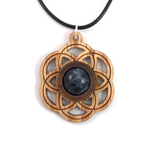 Load image into Gallery viewer, Sodalite Seed of Life (Small) Sustainable Wooden Gemstone Pendant - Available in 4 wood types