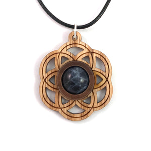Sodalite Seed of Life (Small) Sustainable Wooden Gemstone Pendant - Available in 4 wood types