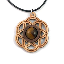 Load image into Gallery viewer, Tiger's Eye Seed of Life (Small) Sustainable Wooden Gemstone Pendant - Available in 4 wood types