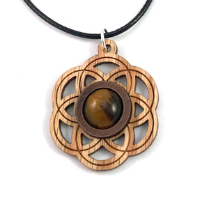 Tiger's Eye Seed of Life (Small) Sustainable Wooden Gemstone Pendant - Available in 4 wood types