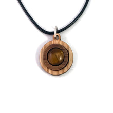 Load image into Gallery viewer, Tigers Eye Simple Circle (10mm) Sustainable Wooden Gemstone Pendant - Available in 4 wood types