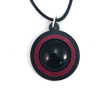 Load image into Gallery viewer, Black Onyx Simple Circle (18mm) Sustainable Wooden Gemstone Pendant - Available in 4 wood types