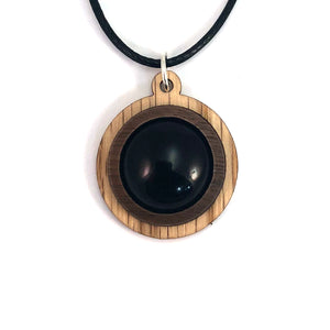 Black Onyx Simple Circle (18mm) Sustainable Wooden Gemstone Pendant - Available in 4 wood types