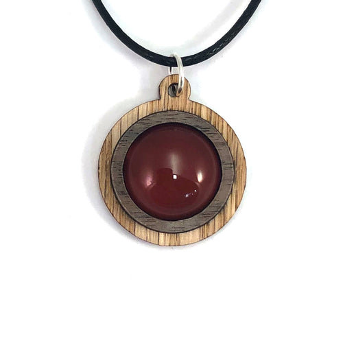 Carnelian Simple Circle (18mm) Sustainable Wooden Gemstone Pendant - Available in 4 wood types