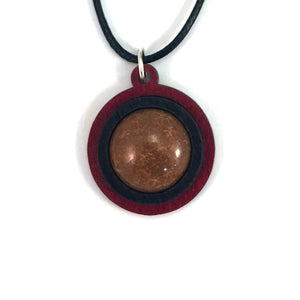 Chrysanthemum Simple Circle (18mm) Sustainable Wooden Gemstone Pendant - Available in 4 wood types