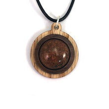 Load image into Gallery viewer, Chrysanthemum Simple Circle (18mm) Sustainable Wooden Gemstone Pendant - Available in 4 wood types