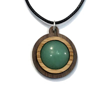 Load image into Gallery viewer, Green Aventurine Simple Circle (18mm) Sustainable Wooden Gemstone Pendant - Available in 4 wood types