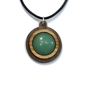Green Aventurine Simple Circle (18mm) Sustainable Wooden Gemstone Pendant - Available in 4 wood types