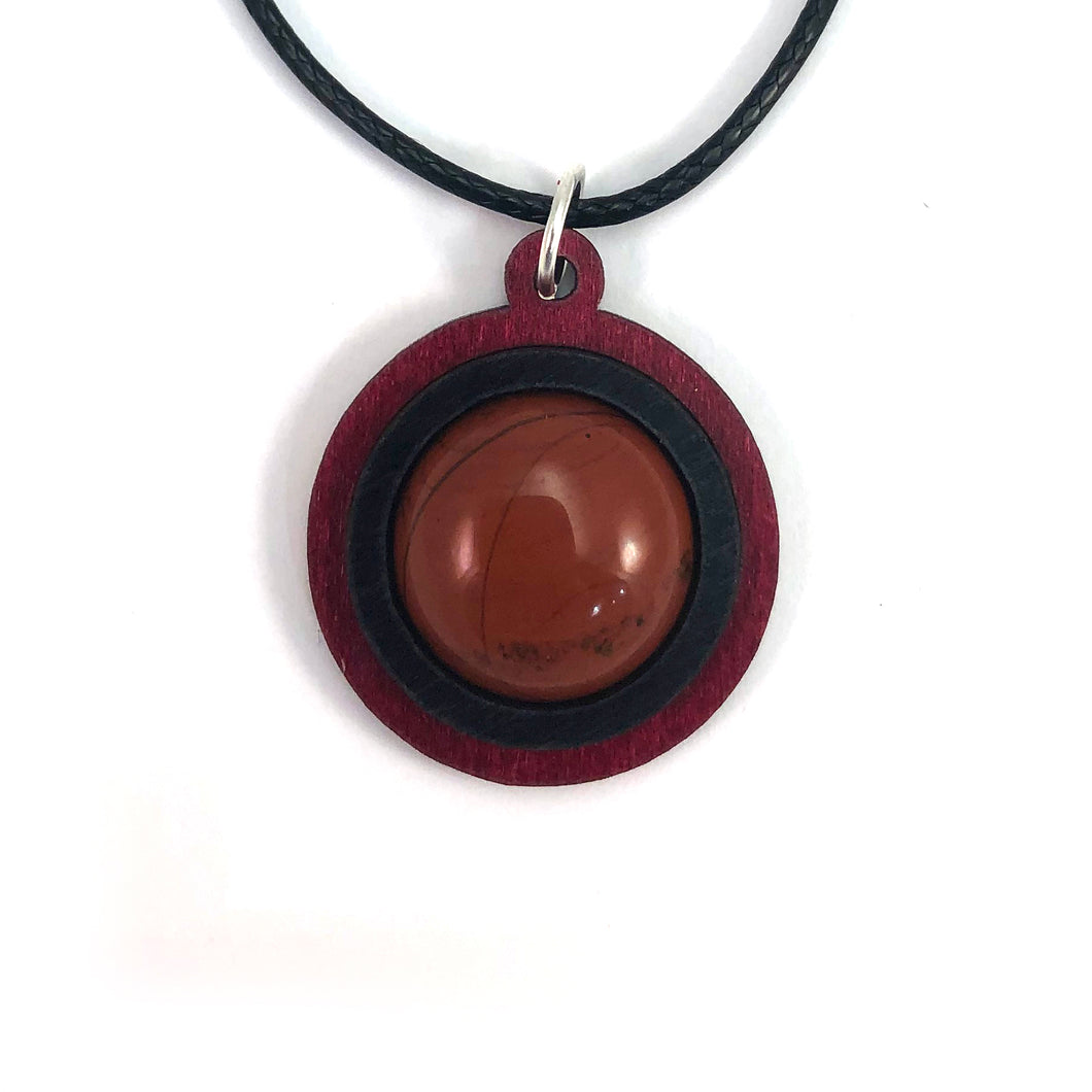 Red Jasper Simple Circle (18mm) Sustainable Wooden Gemstone Pendant - Available in 4 wood types