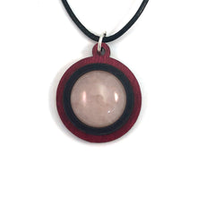 Load image into Gallery viewer, Rose Quartz Simple Circle (18mm) Sustainable Wooden Gemstone Pendant - Available in 4 wood types
