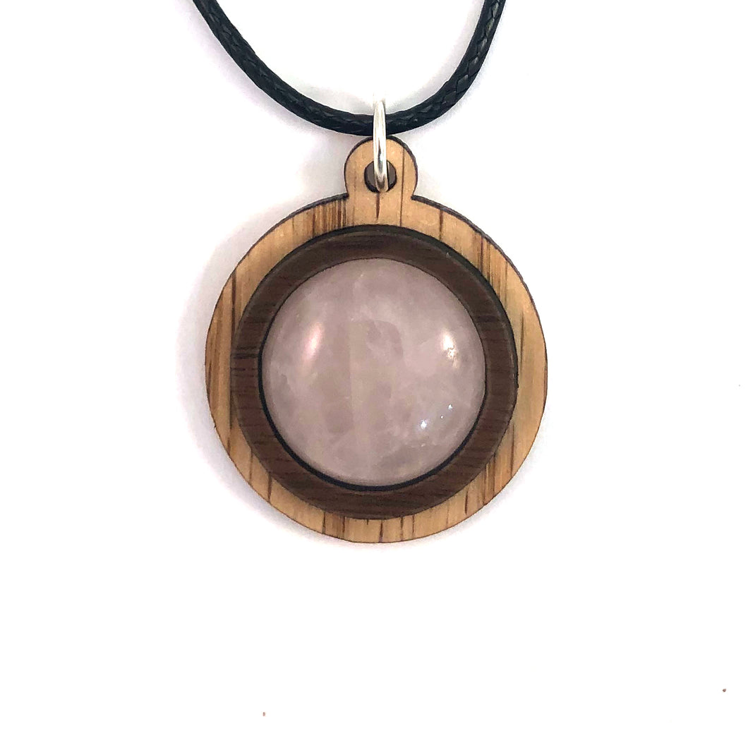 Rose Quartz Simple Circle (18mm) Sustainable Wooden Gemstone Pendant - Available in 4 wood types