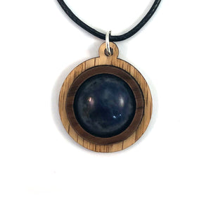 Sodalite Simple Circle (18mm) Sustainable Wooden Gemstone Pendant - Available in 4 wood types