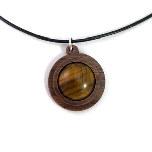 Tigers Eye Simple Circle (18mm) Sustainable Wooden Gemstone Pendant - Available in 4 wood types