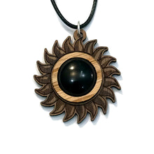 Load image into Gallery viewer, Black Onyx Sun Sustainable Wooden Gemstone Pendant - Available in 4 wood types