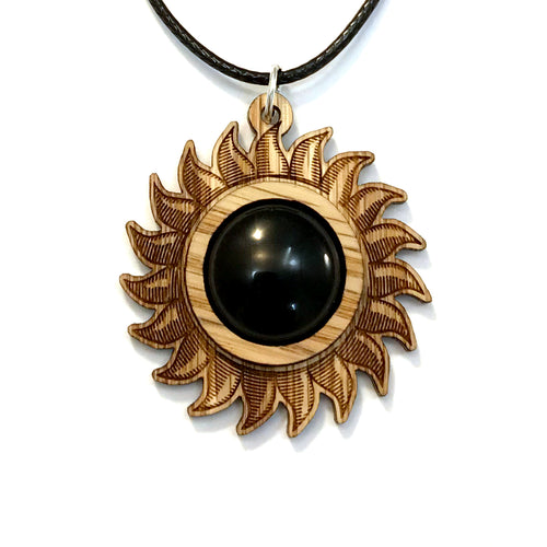 Black Onyx Sun Sustainable Wooden Gemstone Pendant - Available in 4 wood types