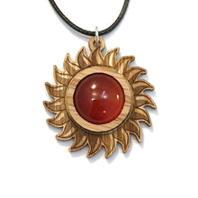Load image into Gallery viewer, Carnelian Sun Sustainable Wooden Gemstone Pendant - Available in 4 wood types