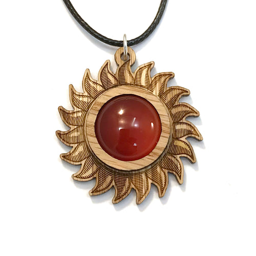 Carnelian Sun Sustainable Wooden Gemstone Pendant - Available in 4 wood types