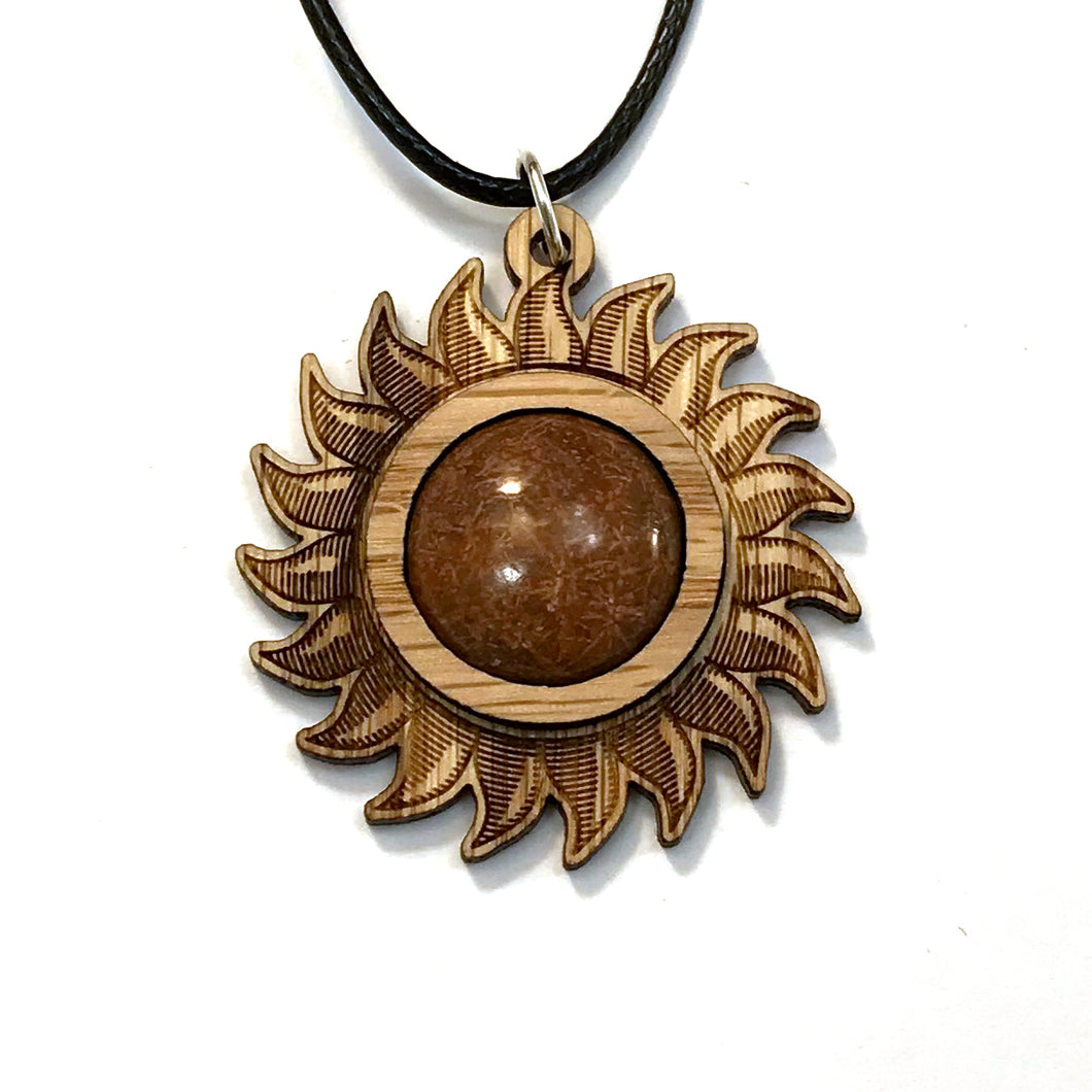 Chrysanthemum Sun Sustainable Wooden Gemstone Pendant - Available in 4 wood types