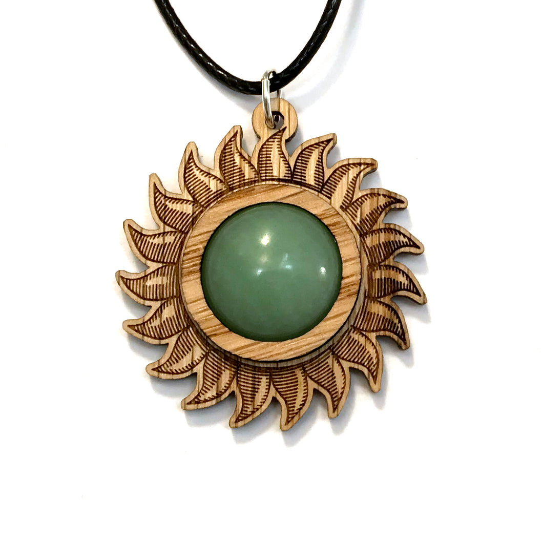Green Aventurine Sun Sustainable Wooden Gemstone Pendant - Available in 4 wood types