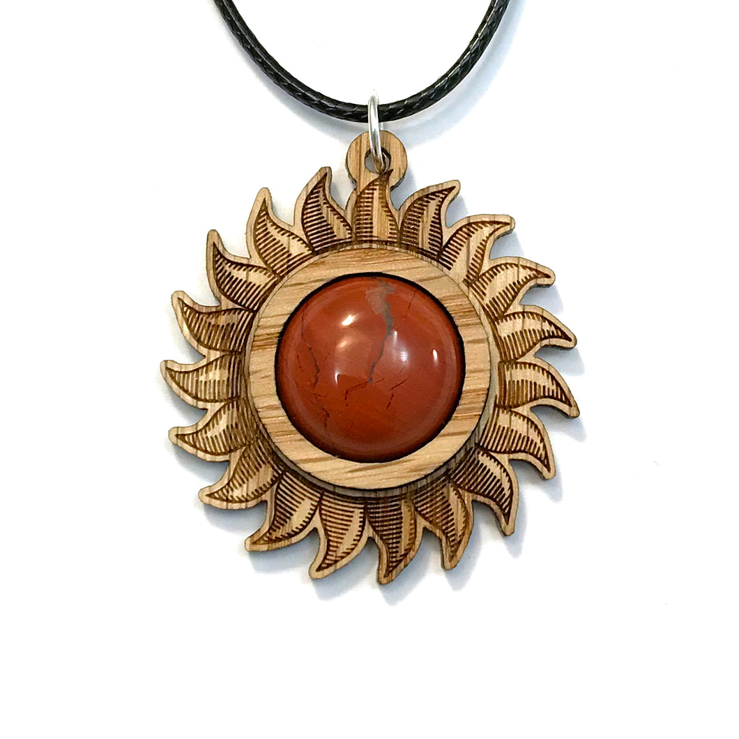 Red Jasper Sun Sustainable Wooden Gemstone Pendant - Available in 4 wood types