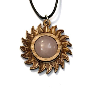 Rose Quartz Sun Sustainable Wooden Gemstone Pendant - Available in 4 wood types