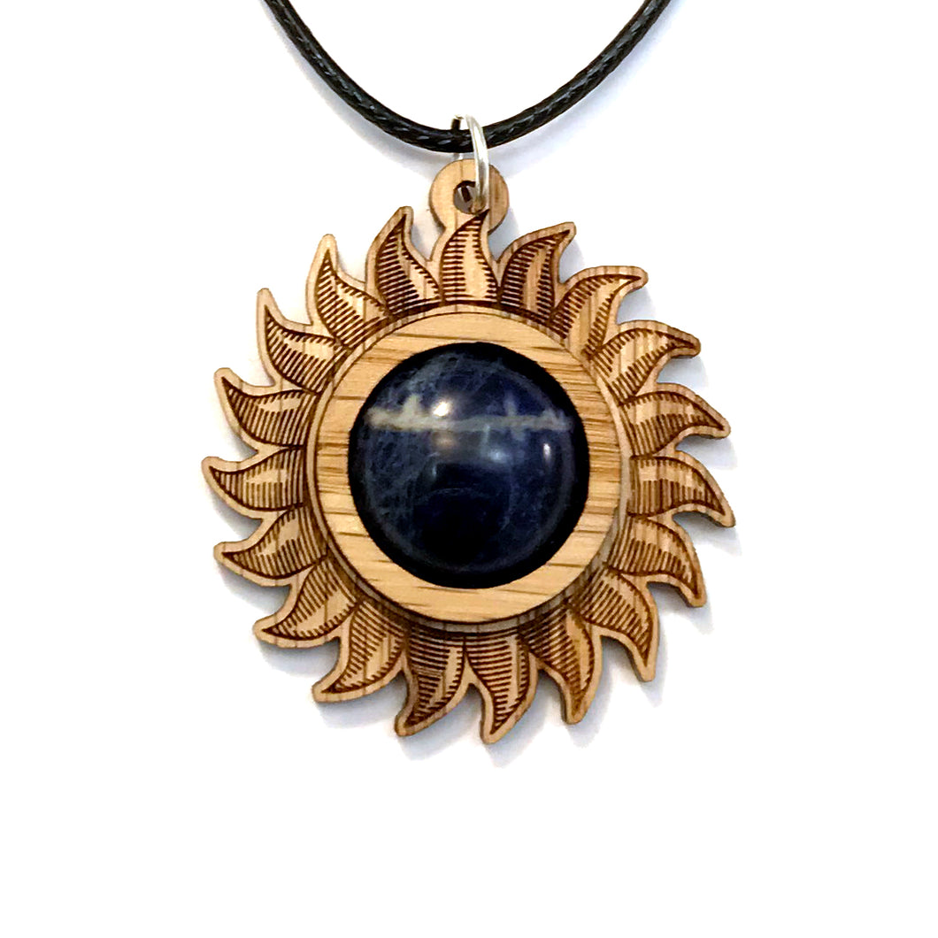 Sodalite Sun Sustainable Wooden Gemstone Pendant - Available in 4 wood types