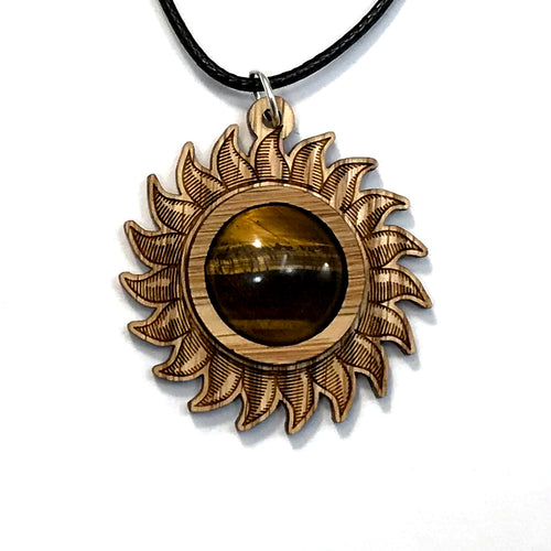 Tigers Eye Sun Sustainable Wooden Gemstone Pendant - Available in 4 wood types