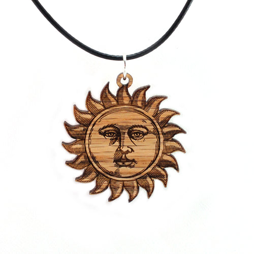 Sun Face Sustainable Wooden Pendant - Available in 2 sizes and 2 wood types