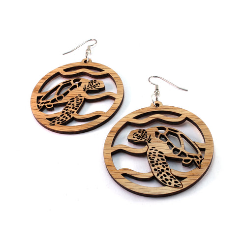 Swimming Sea Turtle Sustainable Wooden Earrings - Available in 4 wood types