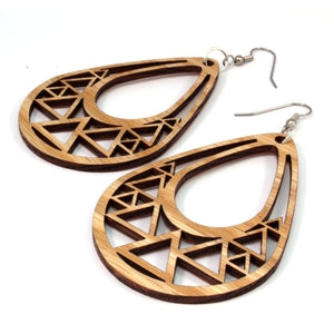Triangle Teardrop Sustainable Wooden Earrings - Available in 2 sizes and 4 wood types