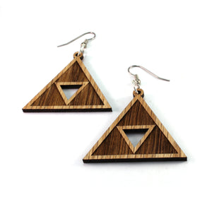 Triforce Sustainable Wooden Earrings - Available in 2 sizes and 4 wood types