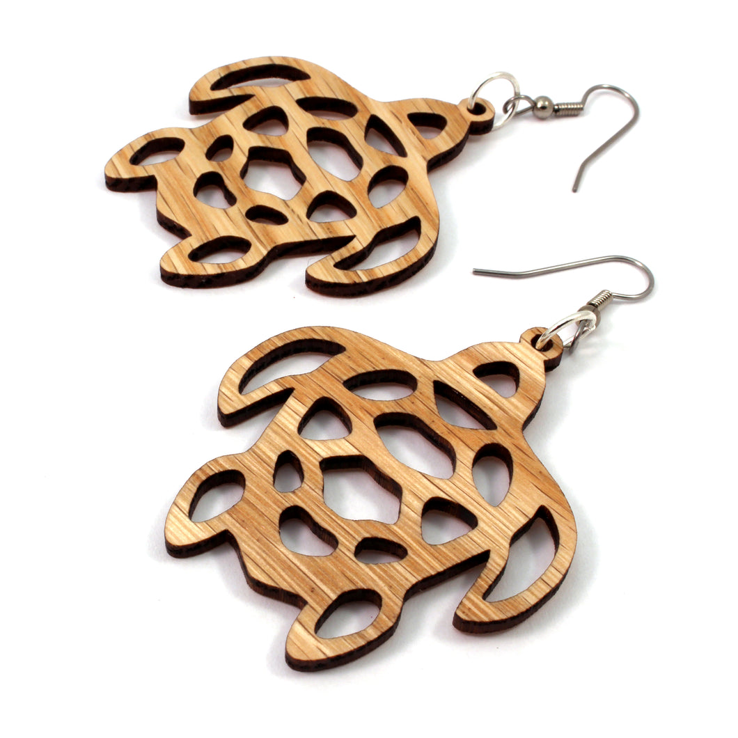 Sea Turtle Sustainable Wooden Earrings - Available in 2 sizes and 4 wood types