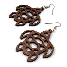 Load image into Gallery viewer, Sea Turtle Sustainable Wooden Earrings - Available in 2 sizes and 4 wood types