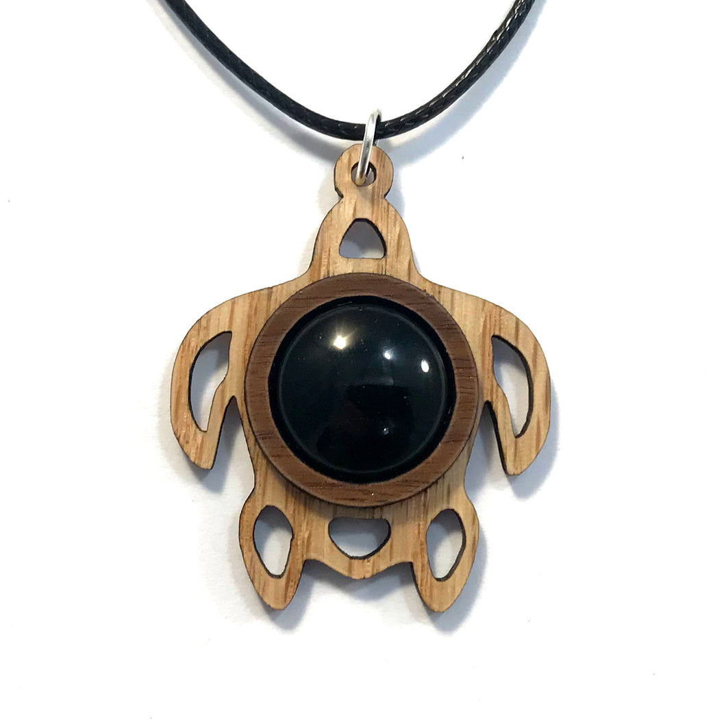 Black Onyx Sea Turtle Sustainable Wooden Gemstone Pendant - Available in 4 wood types