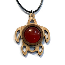 Load image into Gallery viewer, Carnelian Sea Turtle Sustainable Wooden Gemstone Pendant - Available in 4 wood types