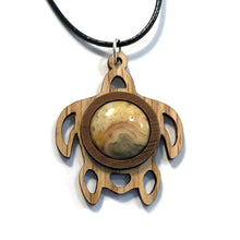 Load image into Gallery viewer, Crazy Lace Agate Sea Turtle Sustainable Wooden Gemstone Pendant - Available in 4 wood types