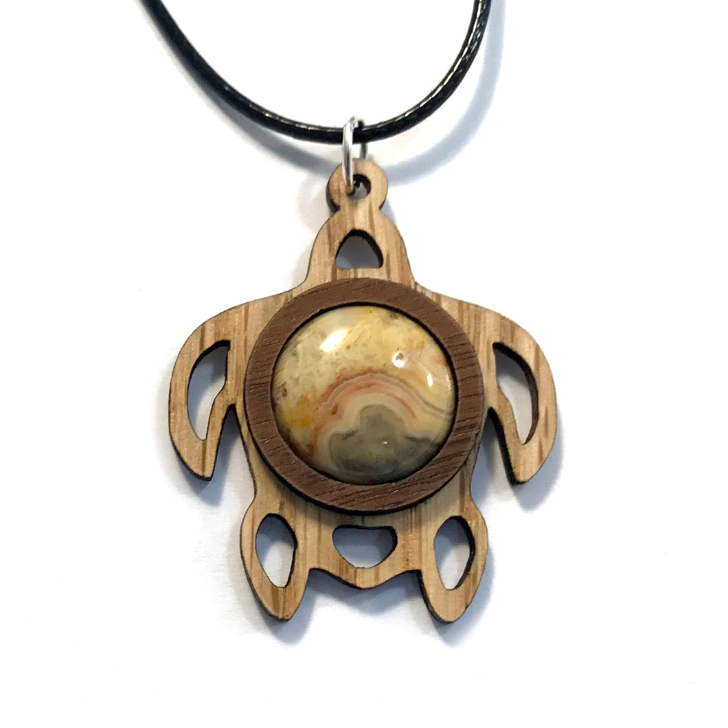Crazy Lace Agate Sea Turtle Sustainable Wooden Gemstone Pendant - Available in 4 wood types