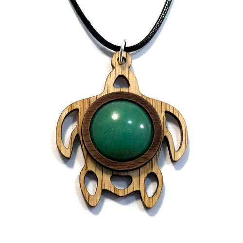 Green Aventurine Sea Turtle Sustainable Wooden Gemstone Pendant - Available in 4 wood types