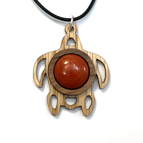 Red Jasper Sea Turtle Sustainable Wooden Gemstone Pendant - Available in 4 wood types