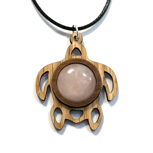 Rose Quartz Sea Turtle Sustainable Wooden Gemstone Pendant - Available in 4 wood types
