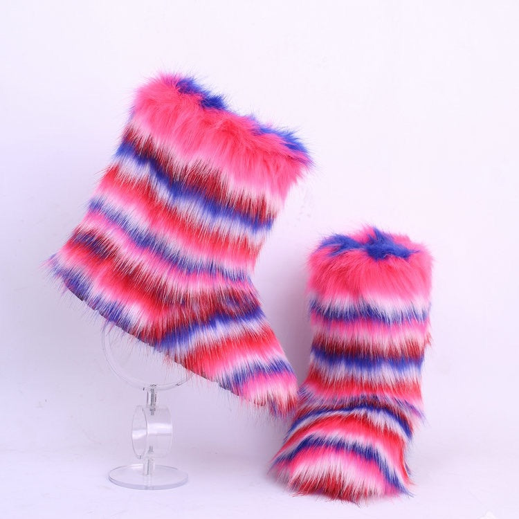 Multi Color Fur Boots