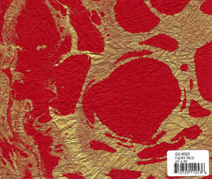 Marbled Momigami Paper - Fiery Red