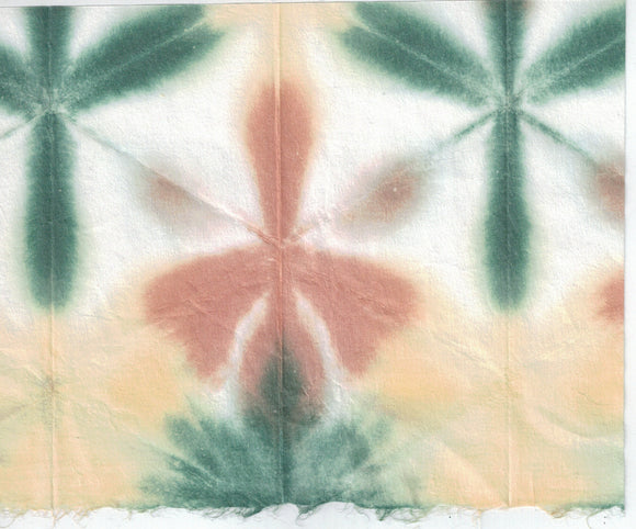 Itajime Shibori Flower - Forest Brown Yellow