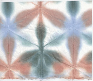 Itajime Shibori Flower - Brown Blue Forest